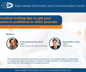 AMIC will hold a free online webinar, Practical writing tips to get your research published in AMIC journals.
